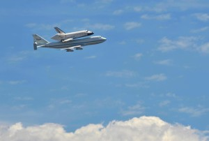 Space Shuttle flyby